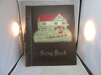 Vtg 1940's embossed scrapbook album cover. NO PAGES. Horses, Inn