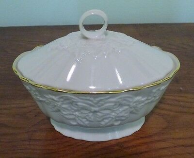 Lenox Covered Dish Embossed Bow Ribbon Pattern Oval w/ Lid