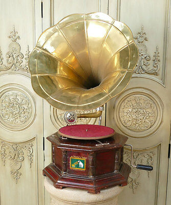 Grammophon Trichter Phonograph 8-eckig his masters voice