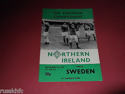Northern Ireland V Sweden 1975 (Excellent)