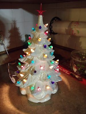"Large 16"" White Glazed Ceramic Christmas Tree W/ Multi-Colored Bulbs + Star"