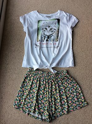 Next Girls White T-Shirt & Green Floral Play Shorts Age 12 Yrs