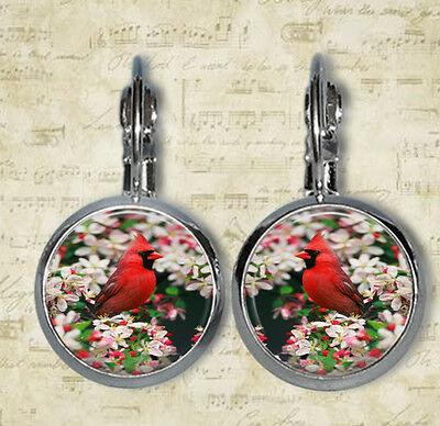 Male Northern Cardinal among Crabapple Blossoms Leverback Earrings (ER0225)