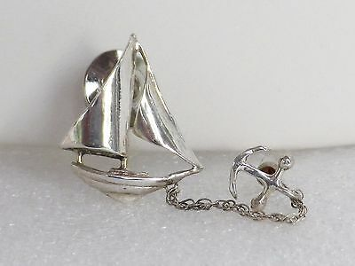 Signed TOUCH Sterling Silver SAILBOAT and ANCHOR PIN  Nautical Boat Tie Pin