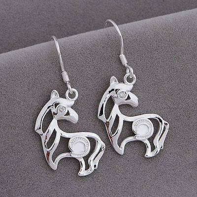 Stylish Simple Lines STERLING SILVER HORSE EARRINGS w/ Crystal EYE Lovely GIFT!