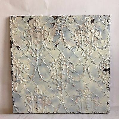 pppppp1890's  24 x 24 Antique Tin Ceiling Tile Ivory Wrapped Wall Art  J