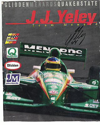"""Indy Racing Indianapolis 500 J.J. Yeley 10""""x8"""" Handout Authentic Autograph COA"""