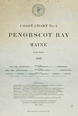 1880 Antique Sea Chart Map Penobscot Bay Maine USA Sailing (1884)
