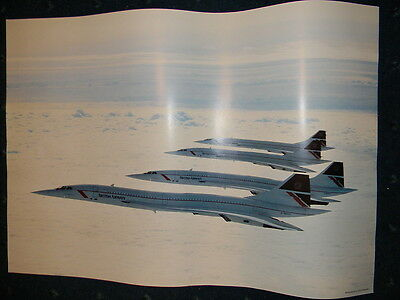 Poster of 4 British Airways Concorde in flight