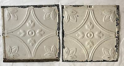 """2 8"""" x 8"""" Antique Tin Ceiling Tiles*SEE OUR SALVAGE VIDEOS* Vintage Ivory LJ9"""
