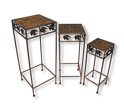 Set of 3 Square Rattan and Metal Tropical Fish Nesting Tables