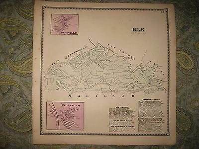 Rare Antique 1873 Elk Township Chatham Chester County Pennsylvania Handcolor Map