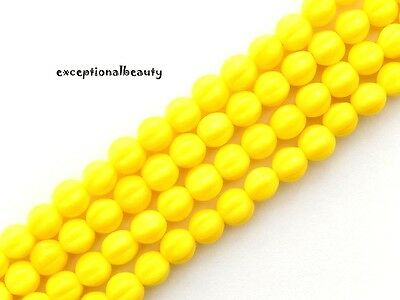 75 Jablonex Czech Bright Opaque Sunny Yellow Glass 5.5mm Fluted Round Beads