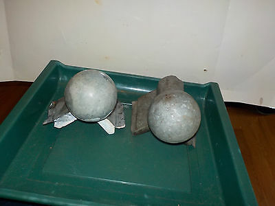 Vintage 2 Galvanized Cannon Ball Finial Bran Roof End Caps Klaver Dubuque 5-19Dt