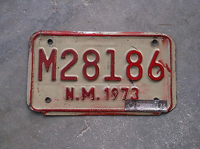 New Mexico 1973 / 74 motorcycle License Plate  #  M 28186
