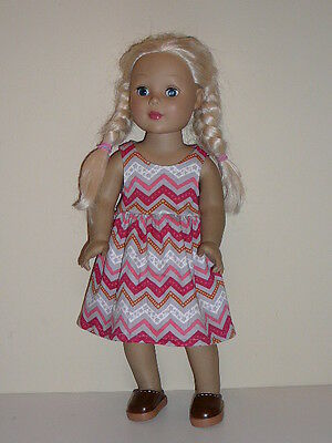 "Gray/Pink Chevron Sundress for 18"" Doll Clothes American Girl"