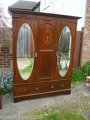 Very Nice Victorian Mahogany Inlaid Triple Wardrobe Ideal Tricky Stairs Landings
