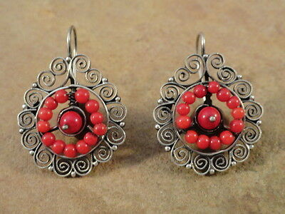 Mexican Mexico Small Sterling Silver & Coral Frida Earrings