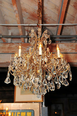 Beautiful Crystal Chandelier w/glass Beads on arms c.1920s