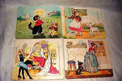 4 VINTAGE 1952 FAIRY TALE PUZZLES by PLATT & MUNK UNUSUAL SHAPED PUZZLE PIECES