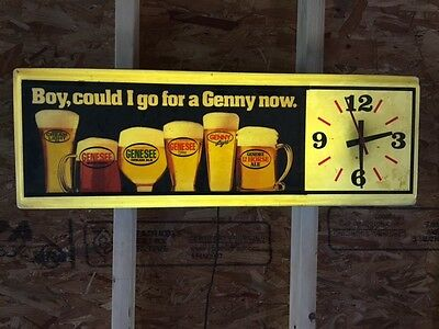"1960's ""Boy, could I go for a Genny now"" Lighted Advertising Clock ** Rare **"