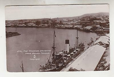 QUEENSLAND, c1910 real photo ppc. Brisbane, Wharves from Bowen Terrace, unused.