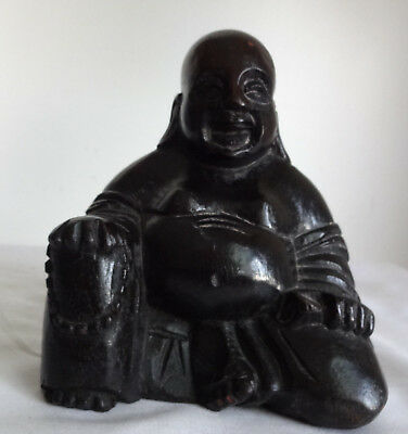 Antique Chinese Hand Carved Black Hard Wood Figure Statue Buddha