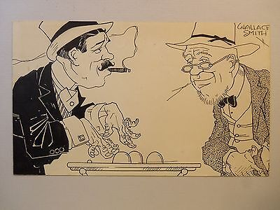 Vintage Original Cartoon Art WALLACE SMITH Con Man & Hayseed Playing Shell Game