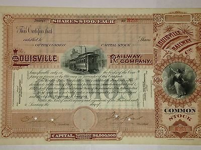 Old Louisville Railroad unissued stock certificate old Trolley picture