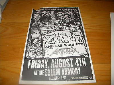 2006 Rob Zombie W/ Antrax American Witch Tour Used Concert Poster Salem Oregon