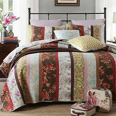 New 100% Cotton Bedspread Queen King Bed Checked Coverlet Set Quilted 3pcs AC444