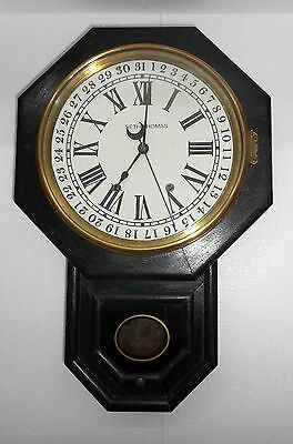 Antique Seth Thomas Calendar Wall Clock wood case brass bezel working contn Ck15