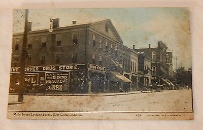 RARE 1912 New Castle IN street scene horse & buggy trade signs RPPC Postcard