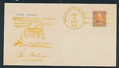 65637) USA Zeppelinpost SoU  comm. cover USS MACON Bakersfield 6.1.34 signed