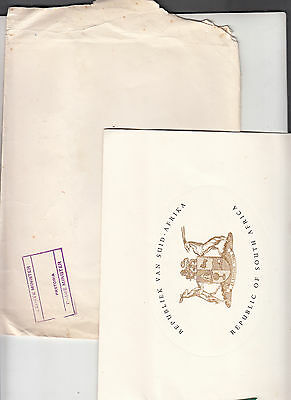South Africa Card From Prime Minister Vorster Office to Queensland Australia
