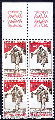 France 1973 MNH Blk 4 + label, Moliere, Actor, Greatest Masters of Comedy  - M28