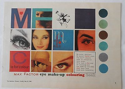 1963 Max Factor eye make up colouring book - from Women's Weekly