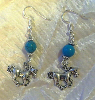 Pair of Fun RUNNING HORSE EARRINGS with Dark Blue BEAD French Hooks HORSE FANS!!