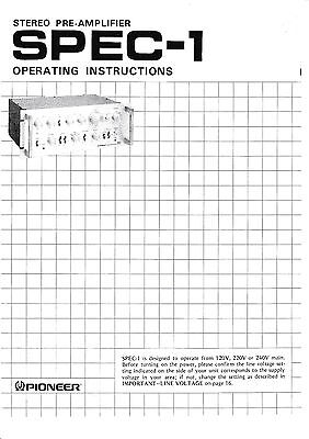 Operation Instructions user manual for Pioneer Spec-1