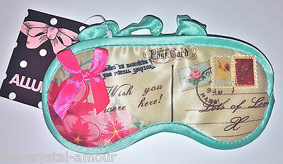 Allura, Cream & Mint Green Postcard Satin Sleep Mask • EUR 4,38