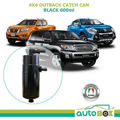 Black Outback Oil Catch Can Baffled Larger pipes suits Diesel 4WD 600ml