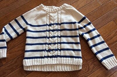 Baby Gap Girls Blue & Ivory Striped Cable Sweater 5T