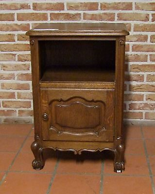 Louis Xv Style Vintage French Carved Dark Oak Single Bedside Cabinet - (030020)