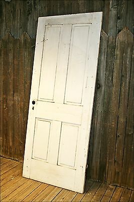 Vintage WOOD DOOR 4 paneled wooden antique shutter architectural salvage old #2