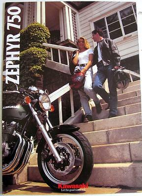 KAWASAKI ZEPHYR 750 Motorcycle Sales Brochure 1995 P/N 99949-1026 ALL-E IV-VIII