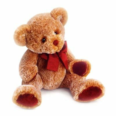 "Russ 14"" Cinnamon Teddy Bear with Red Paw Pads and Bow Childrens Gift, 39412"