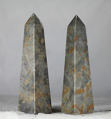 """REAL PAIR 6"""" MARBLE Egyptian Style Obelisks, a Unique Gift for Antiquity Lovers"""