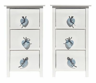 Set of 2 Heart White 3 Chest of Drawer Hallway Bedroom Bedside Table Cabinet