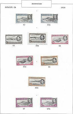 Ascension stamps 1938 SG 38-47 including shades  MLH  VF  Cat Value $800