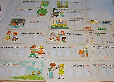 lot of 16 FISHER PRICE School Desk FRENCH WORD CARDS 1977